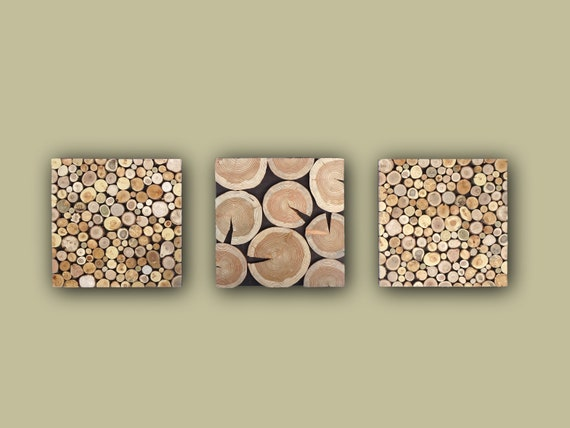 Large Wood Wall Art Triptych, Set of 3 Wood slice Wall panels, Natural Wood slab Above Couch Wall Decor, 3 Piece Wooden Tree trunk Wall Art