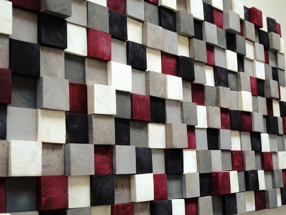 USA ONLY, Modern Wood Wall Art, Hand Painted Pine Squares, Wooden Wall Art,Rustic Wood Wall Hanging, Shades of Gray, White, Black, Burgundy