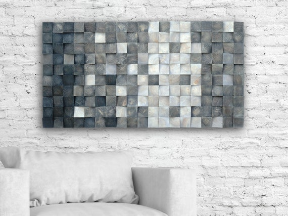 3D wood wall art, mosaic wall hanging, wood block wall art,