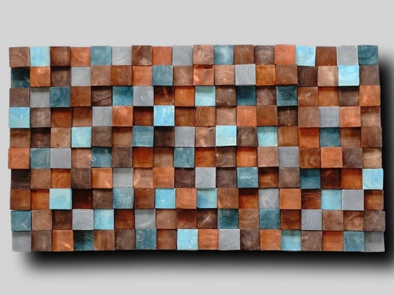 Wooden wall art, Textured Wooden Wall Art, Mosaic Wall Hanging, Modern Wood Decor Blue Brown, Modern Wooden Wall Art