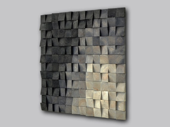 square wood wall art decor, nature wall hanging, textured art decor, wood wall sculpture , environmental decor, mosaic wall hanging