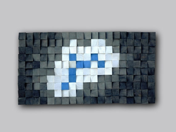 Modern Wood Wall Art, 3D Wooden Decor, Mosaic Art, Elegant Tribal Wood, Hand Painted Square, White Blue shades of Gray
