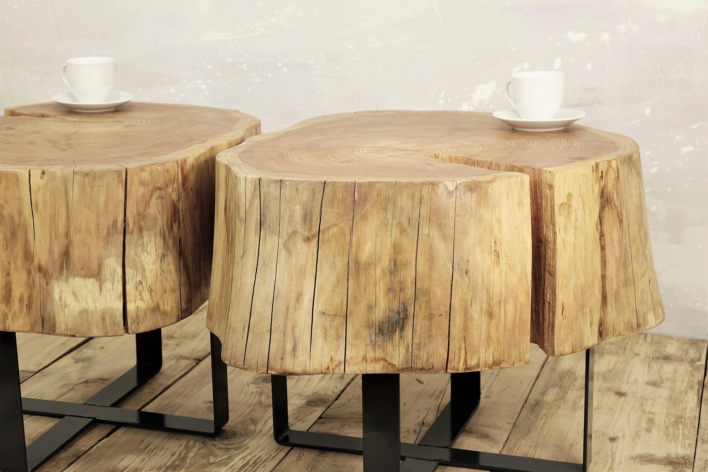 - Twin Stump Coffee Table On Metal Base Slab Coffee Table Natural