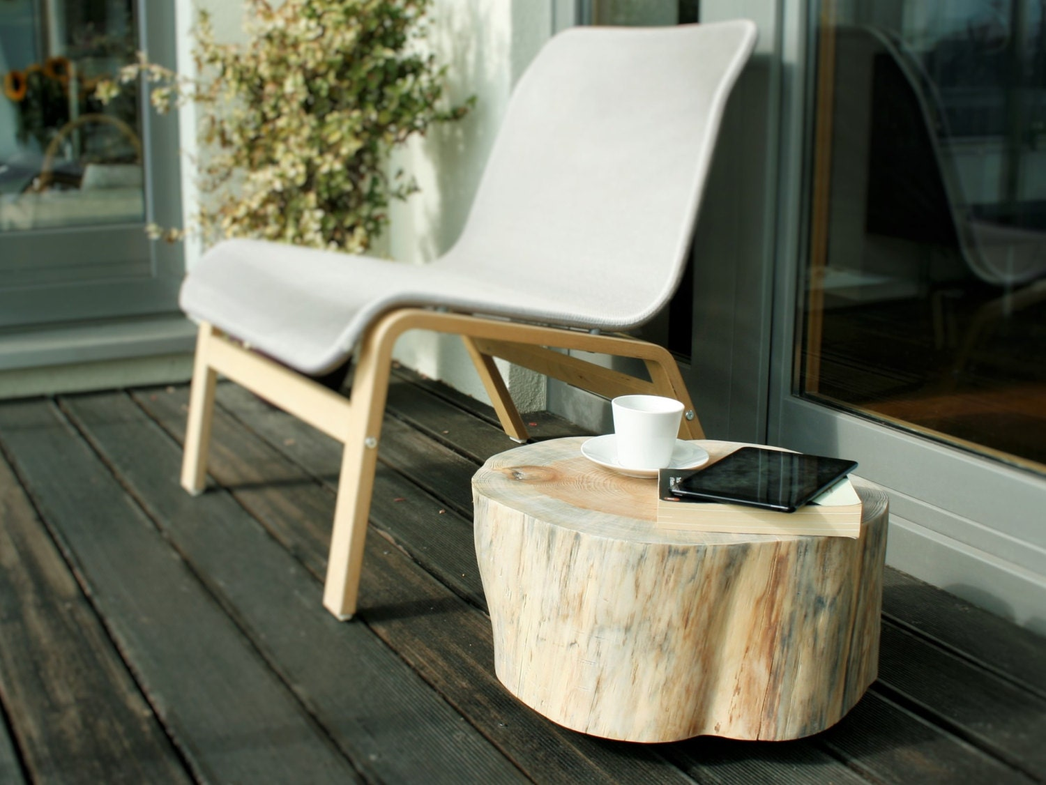 In Legno Wood Design wooden stump table trunk side table tree trunk rolling