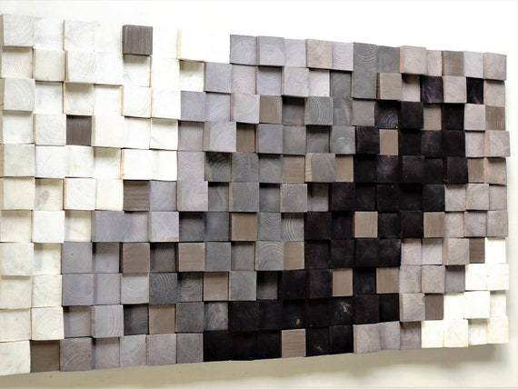 Wooden wall art, Textured Wooden Wall Art, Mosaic Wall Hanging, Modern Wood Decor Black White Silver, Modern Wooden Wall Art