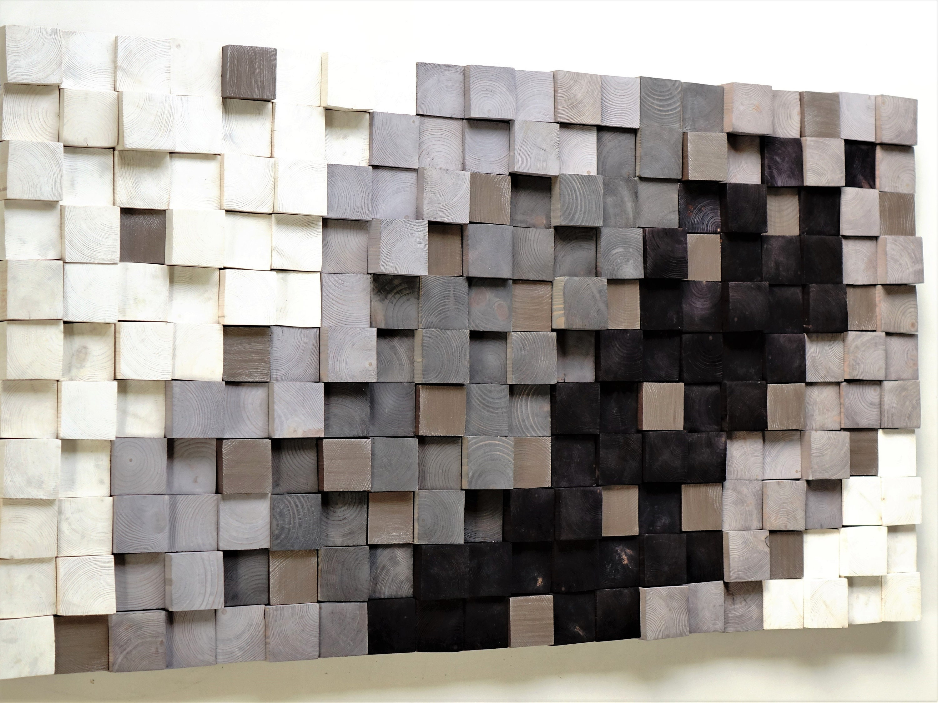 Wooden Wall Art Textured Wooden Wall Art Mosaic Wall Hanging Modern Wood Decor Black White Silver Modern Wooden Wall Art