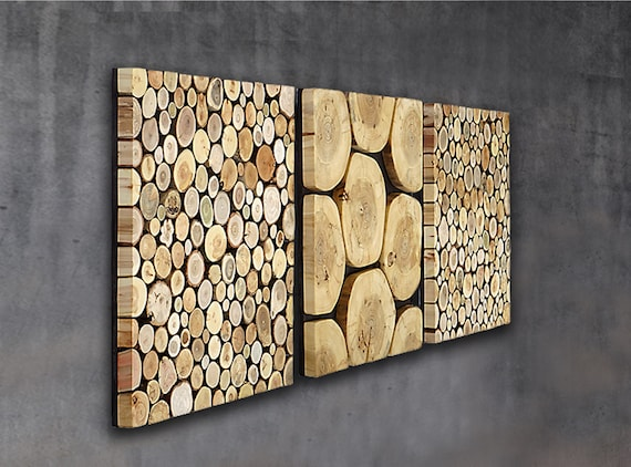 tree slab wall art set of 3, wood wall panel triptych, set of wood wall art, wall panels tree slices, wood wall decor, 3 piece wood wall art