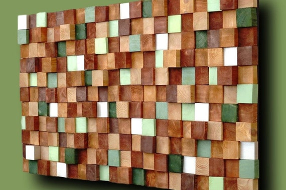 USA ONLY, Rustic Autumn Wood Wall Art, Handmade with Real Wood, Textured Mosaic Wall Hanging, Colorful Murals for Interior Design