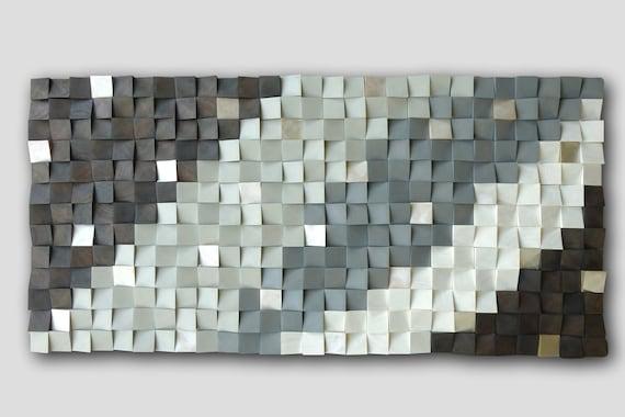 3D wood wall, mosaic wall hanging, textured wood wall art, wood wall decor grey brown, modern wooden wall art, CP