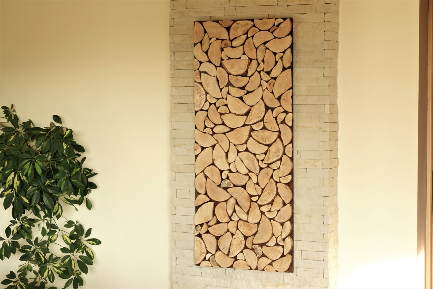 wood art chopped slices panel, Environment wall art, sliced wood art ...
