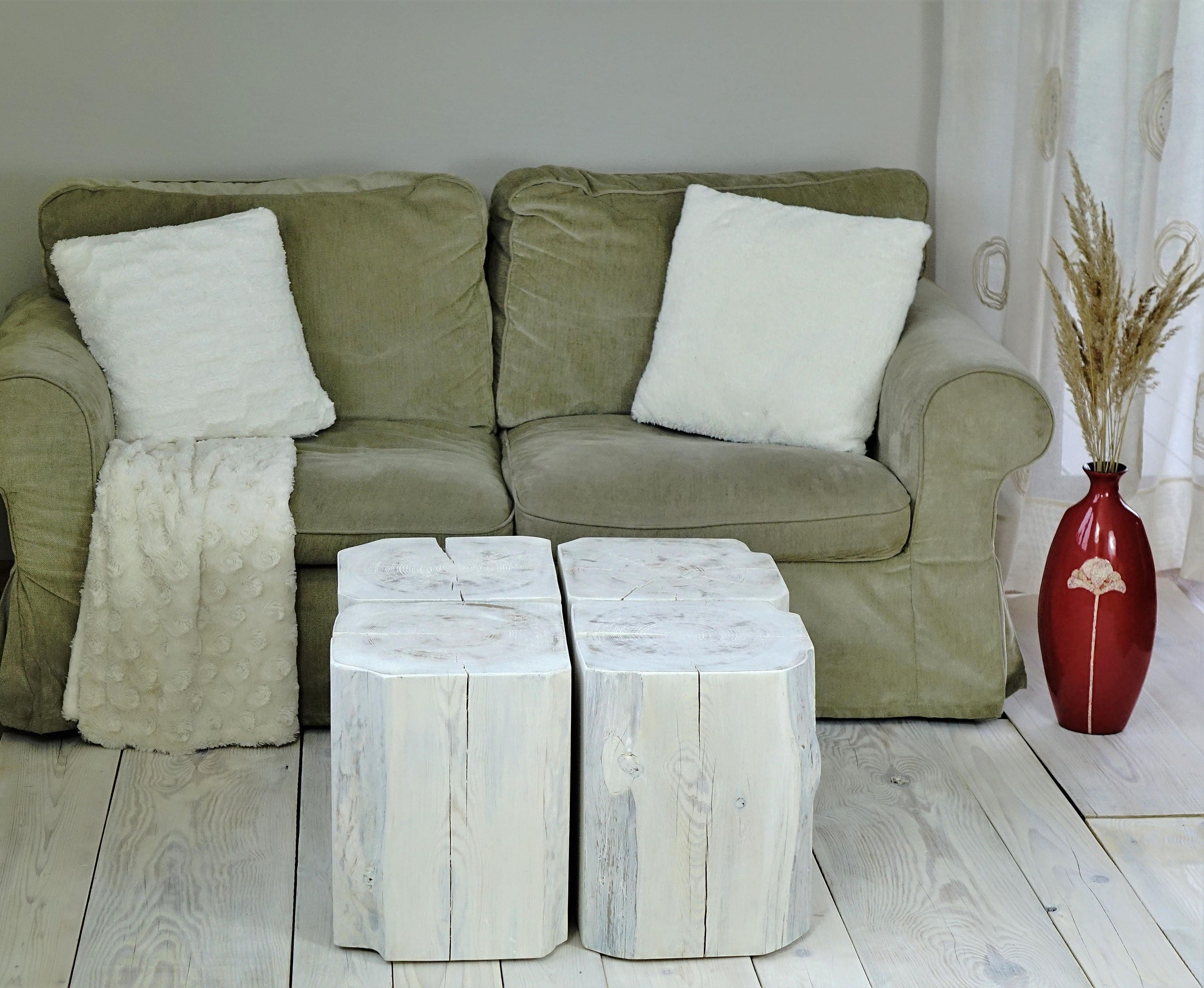 GroBartig White Wood Block Side Table Set Of Stump Square Blocks Weiss Couchtisch Holz  Baumblöcke Sgabello Ceppo Di Legno