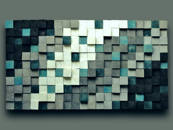 Modern Reclaimed Wood Wall Art Large, Textured Wooden Wall Art, Square Wood Mosaic Wall Hanging, Green White Silver Wood Acoustic Panel