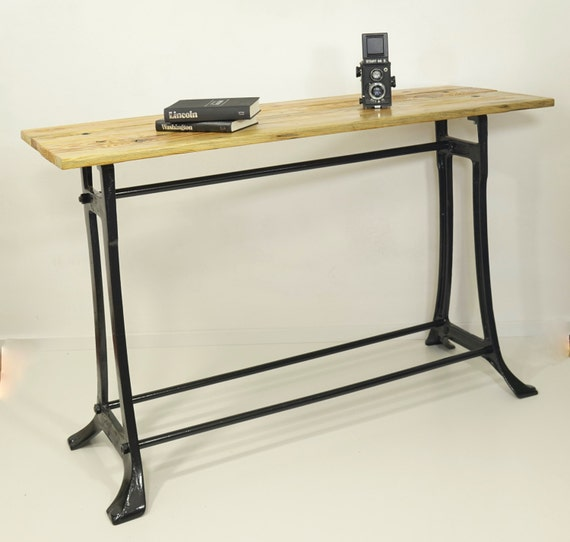 Industrial Desk table of reclaimed wood on metal frame an old knitting machine base table entry table