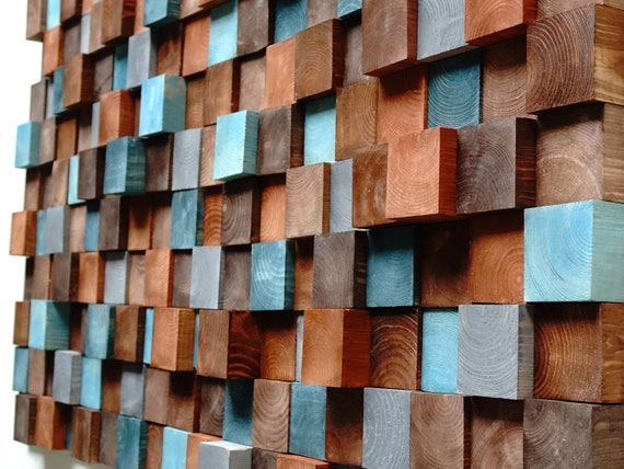 USA ONLY, Textured Wooden Wall Art, Wooden wall art, Mosaic Wall Hanging, Modern Wood Decor Blue Brown, Modern Wooden Wall Art