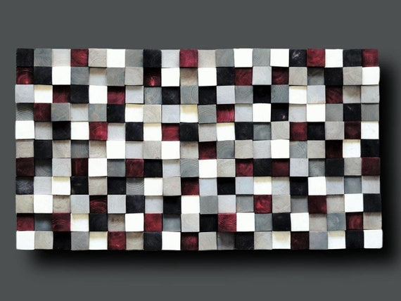 Modern Wood Wall Art, Hand Painted Pine Squares, Wooden Wall Art,Rustic Wood Wall Hanging, Shades of Gray, White, Black, Burgundy