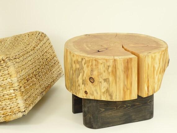Tavolino di servizio di tronco di albero su legno nero base etsy