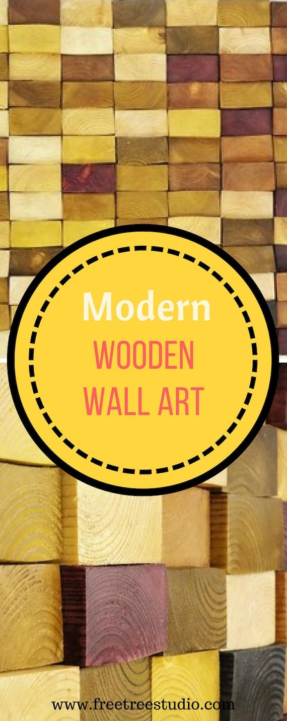 wooden mosaic decor modern wood wall art organic wall art | Etsy