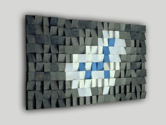 USA ONLY, Modern Wood Wall Art, 3D Wooden Decor, Mosaic Art, Elegant Tribal Wood, Hand Painted Square, White Blue shades of Gray
