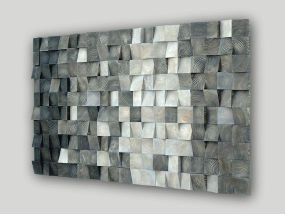 3D wood wall art, mosaic wall hanging, wood block wall art, CP