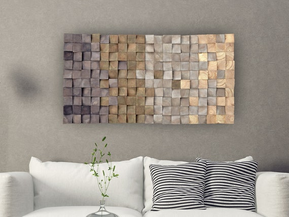 Modern Wooden Wall Art, Warm Earth Tones Wooden Blocks Mosaic Wall Hanging, Over the Bed Wall decor, Natural Wood Wall Art Large, Wood decor