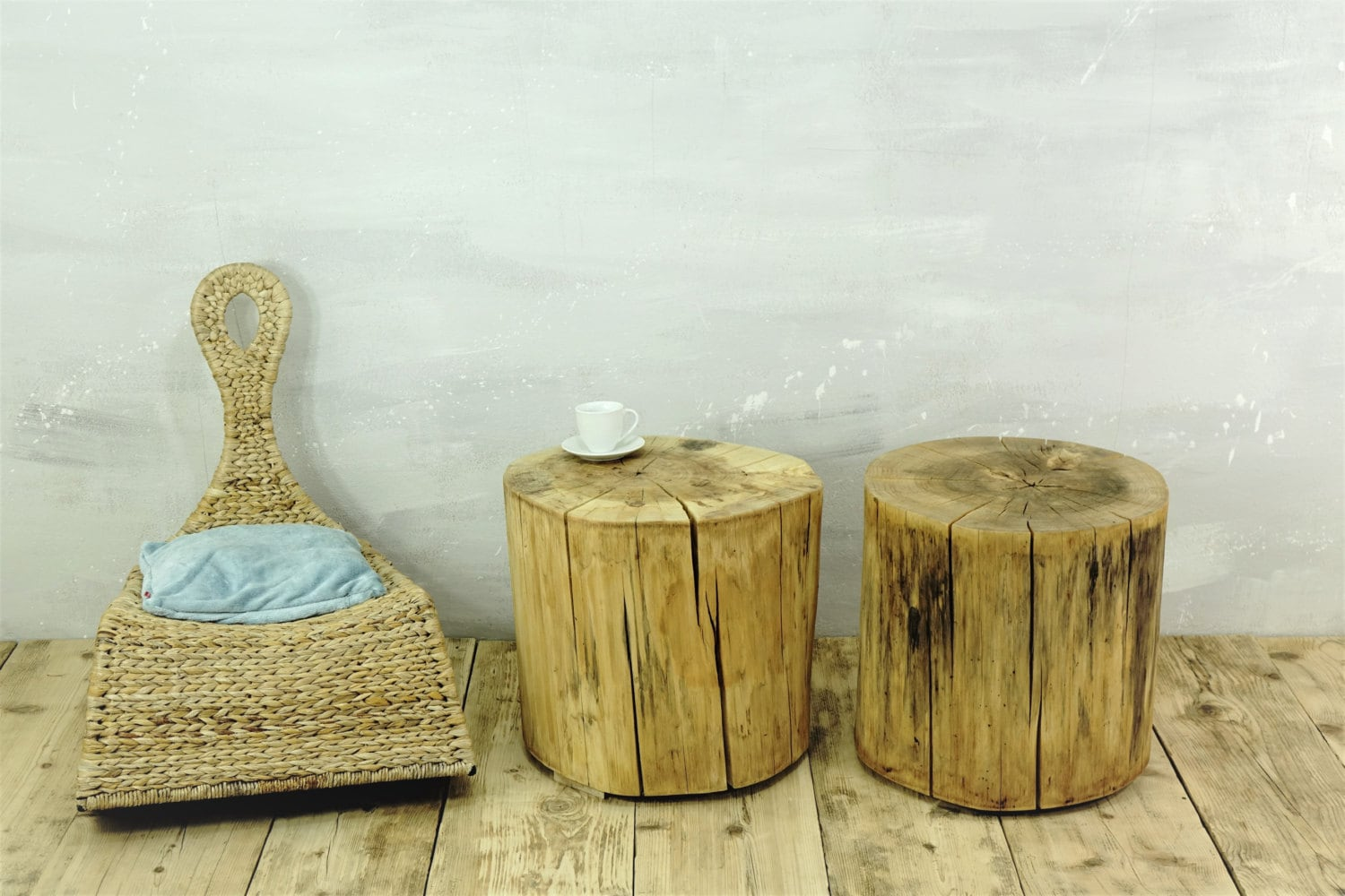 Tree Stumps Table Set Of 2 Rustic Tree Trunks Baumstumpf Baumstamm
