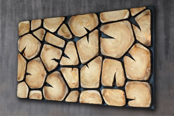 burn wood wall art large, shou sugi ban Wall art, burn tree slabs wall panel for home and office, mosaic wooden wall panel UK