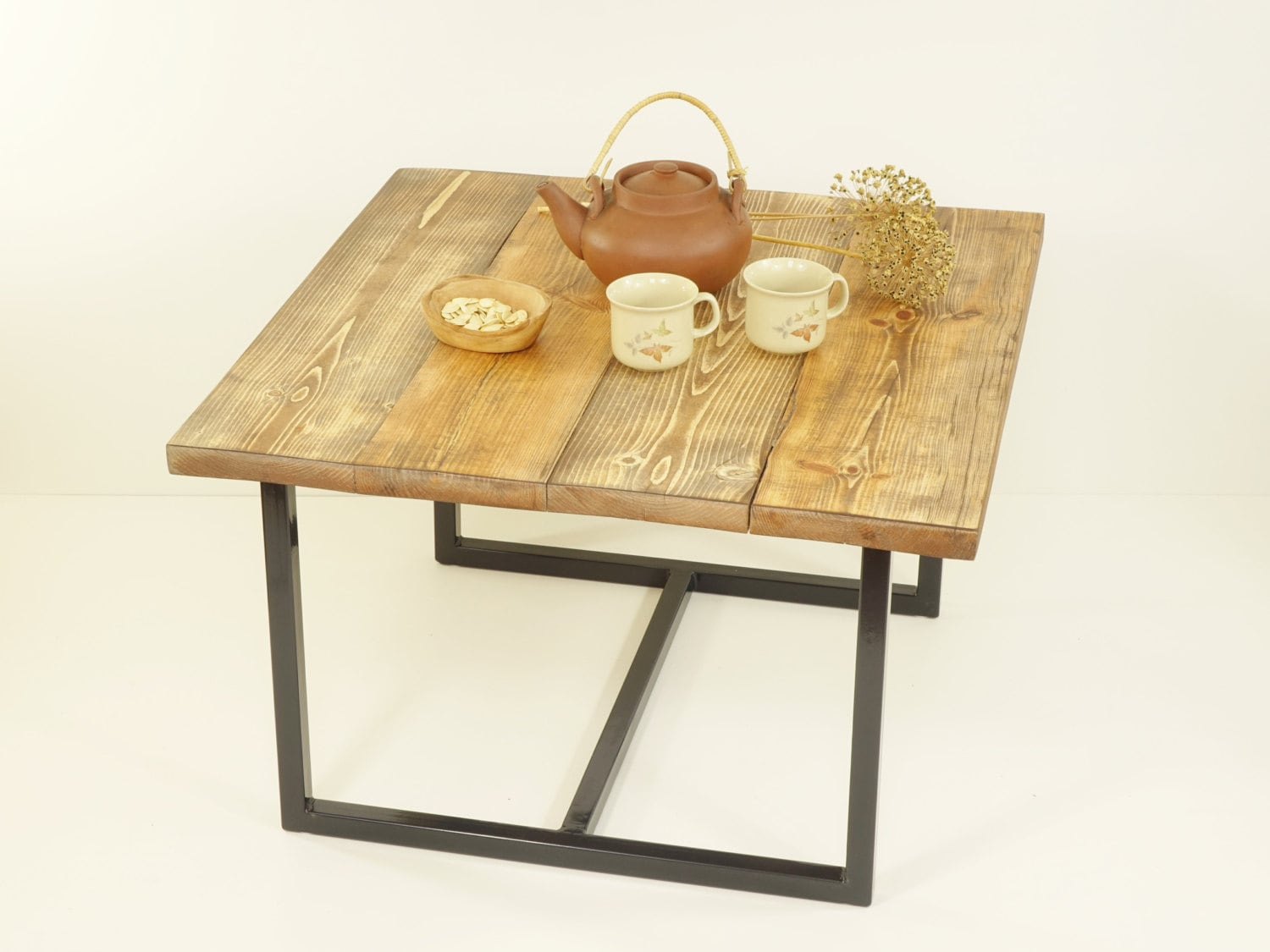 Square Coffee Table Reclaimed Planks Top Industrial Table