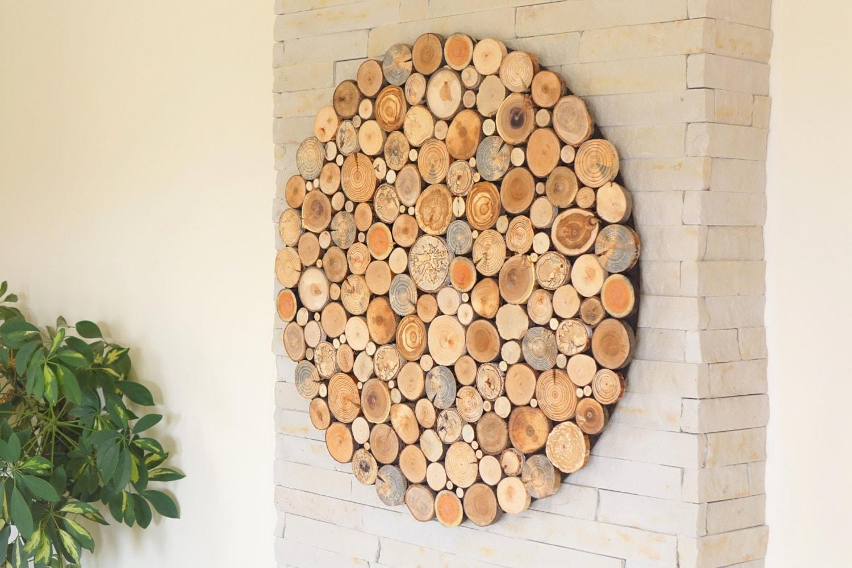 Round Wood Wall Art Tree Rounds Decor Holzwand Kunst Tree Slices Wall Art Modern Wood Wall Art