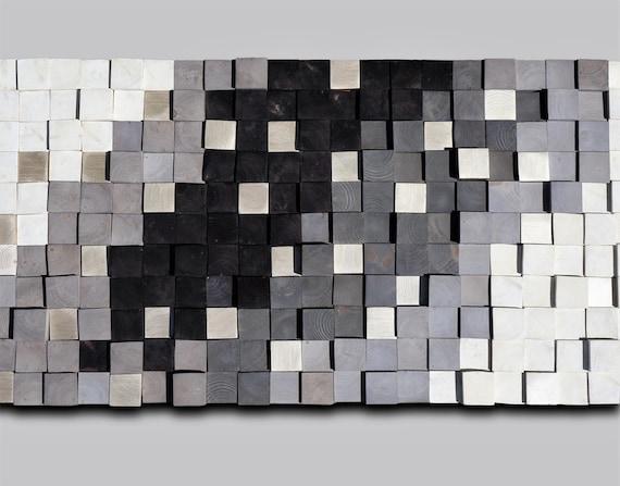 Wooden wall art, Textured Wooden Wall Art, Mosaic Wall Hanging, Modern Wood Decor Black White Silver, Modern Wooden Wall Art