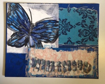 SALE Original monotype collage on canvas, Blue Royal Butterfly, Monotype print collage, 8*10 caterpillar butterfly print and fabrica collage