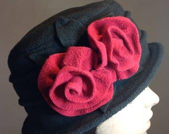 Black and raspberry fleece winter Hat you