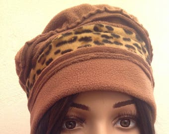 Brown Tan polar fleece winter Hat
