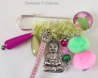 Brooch charm lime green and pink - Cactus & Buddha - handmade