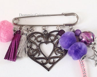Brooch charm purple and pink - heart and tassels - handmade