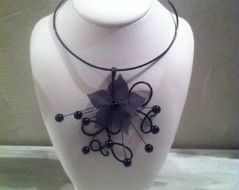Black Arabesques wedding, evening, Silk Flower necklace