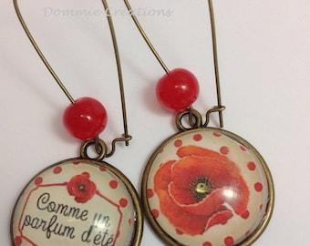 Earrings - poppy summer scent - costume jewelry
