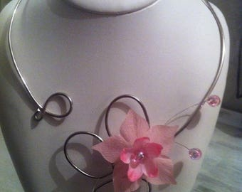 Light pink wedding, evening necklace