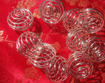 5 large 20 mm round silver metal spiral bead cages