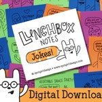 Jokes Printable Lunchbox Notes (Set of 24) // Digital Download // Kids Lunch Box Cards // Silly Drawings and Jokes