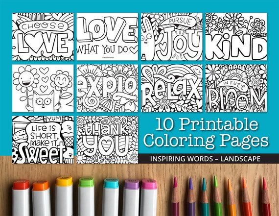 Inspiring Words Printable Coloring Pages Landscape 10 Etsy