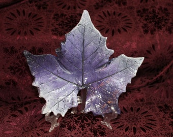 """Maple (9.75"""") Sycamore - Concrete Leaf Casting - Bursting with various bold shades of purple.  Beautifully cast!  FREE SHIPPING!!!"""