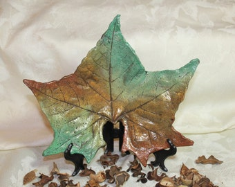 """MAPLE (10"""")  Concrete Leaf Casting - What a unique gift for that """"hard to buy for"""" person. A Lovely accent for any room.  FREE SHIPPING!!!"""