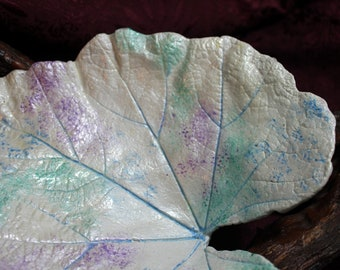 """HOLLYHOCK (9.5"""") Concrete Leaf Casting - Lovely soft colors to accent the unique shape for the leaf representing """"Ambition""""  FREE SHIPPING!!"""