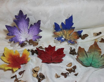 """MAPLE Leaves (4 1/2"""" and larger) Concrete Leaf Castings - Spectacular leaves for any time of year!  FREE SHIPPING!!!"""