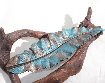 """THISTLE (15.5"""") Concrete Leaf Casting - This leaf casting has great curves, deep veins and wonderful colors.  FREE SHIPPING!!!"""