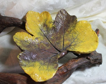 """PUMPKIN (11"""") Concrete Bowl Leaf Casting - Deep veins, soft natural colors reminds me of  the harvesting of this leaf.  FREE SHIPPING !!!"""