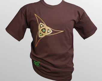 Children's Norse Triquetra Embroidery Brown T Shirt, Celtic / Viking Child Tshirt Clothes UK Shop Clothing Birthday Gift Idea Boys T-shirt