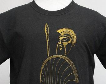 Ancient Greek Soldier Embroidered Black TShirt, Spearman Phalanx Boeotian Shield, Man's Tee Shirt, Women's Plus Size T-shirt, Birthday Gift