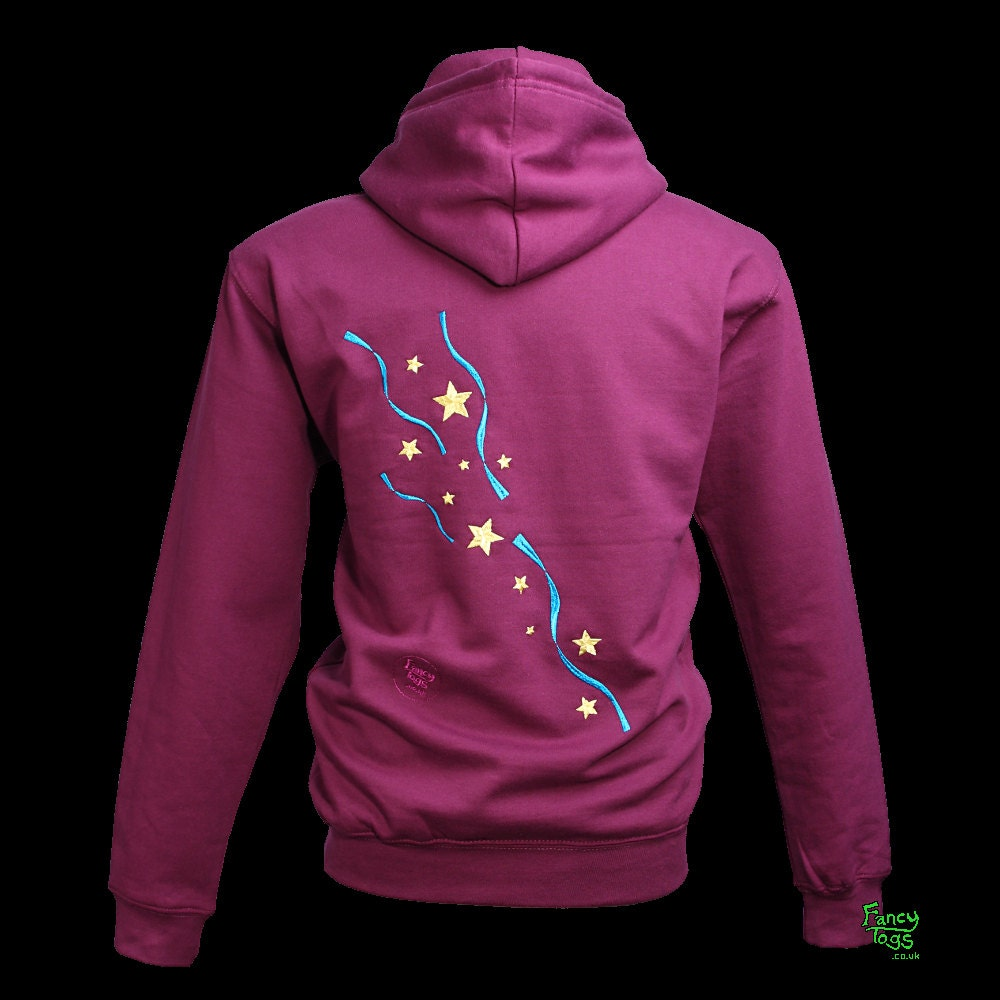 Stars And Ribbons Tattoo Embroidery Plum Hoody Womens Plus -3718