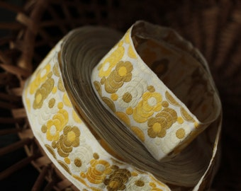 Retro embroidered  florals vintage woven jacquard ribbon